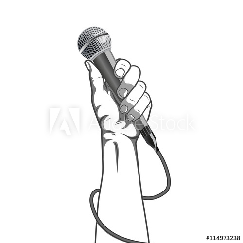 hand holding a microphone in a fist vector illustration.