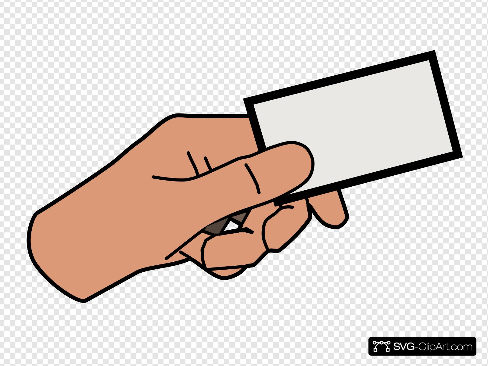 Simple Cartoon Hand Holding Card Clip art, Icon and SVG.