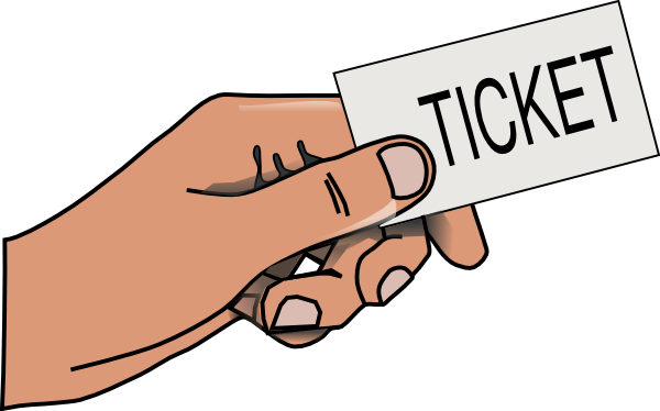 Hand holding ticket clipart.