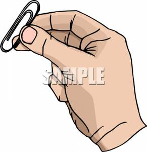 Hand Holding a Paper Clip.