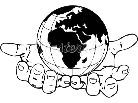 Hand holding earth clipart.