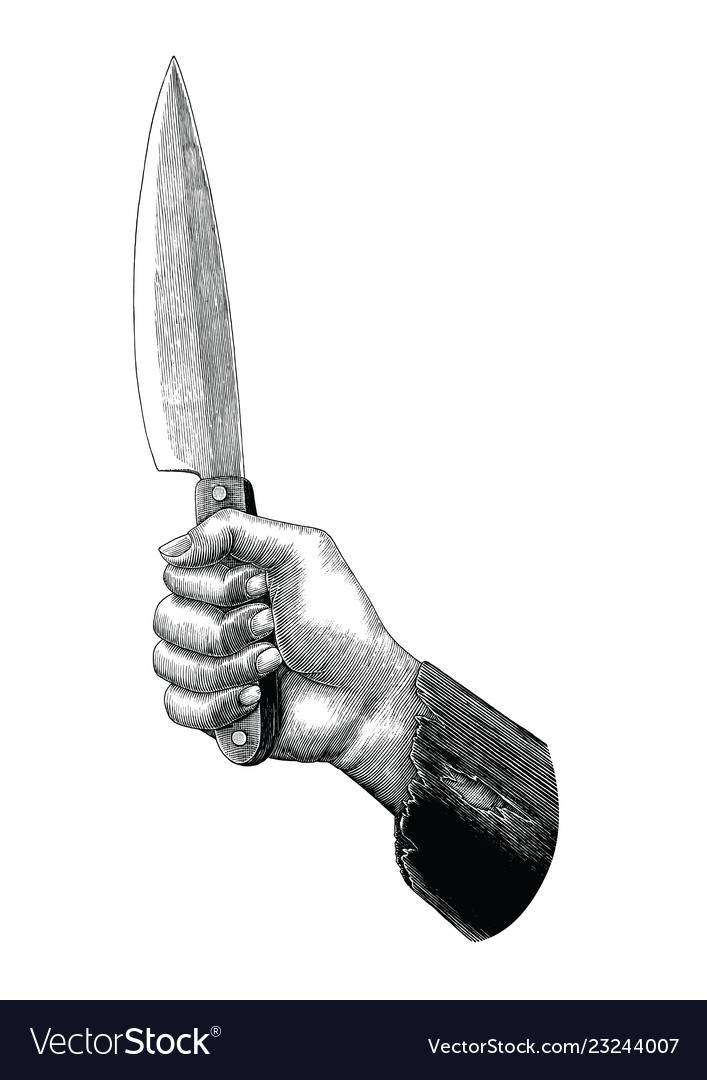Hand holding knife vintage clip art isolated on.