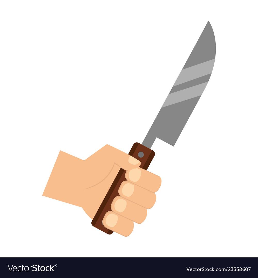Hand holding knife.