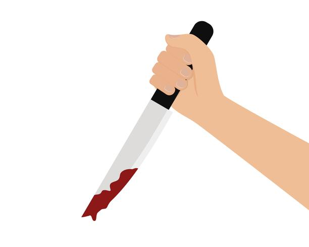 Vector of hand holding a bloody knife on white background.