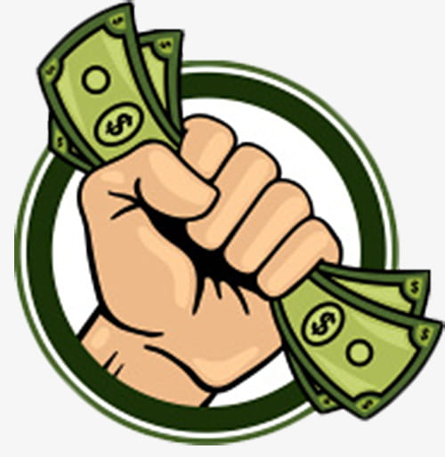 Hand holding the circular sign of money PNG clipart.