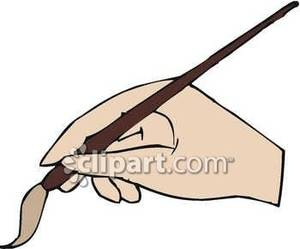 Hand Holding An Artist\'s Paintbrush.
