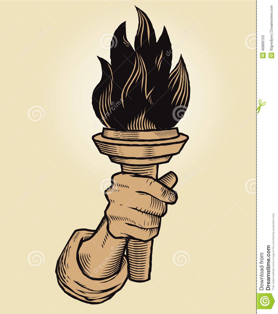 Torch In Hand Stock Vector.