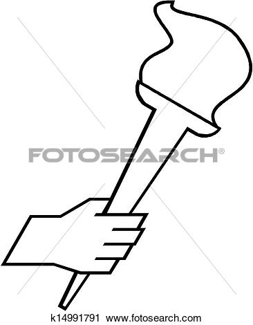 Clipart of hand holding a flaming torch k14991791.