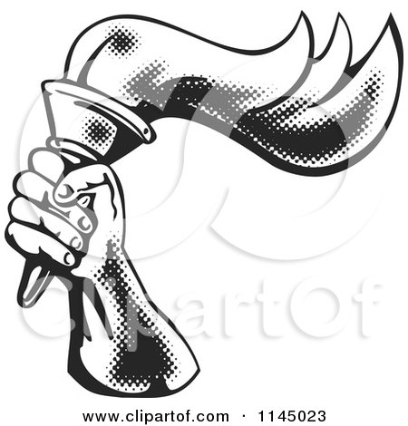 Clipart of a Retro Hand Holding up a Torch and Dark Blue Rays.
