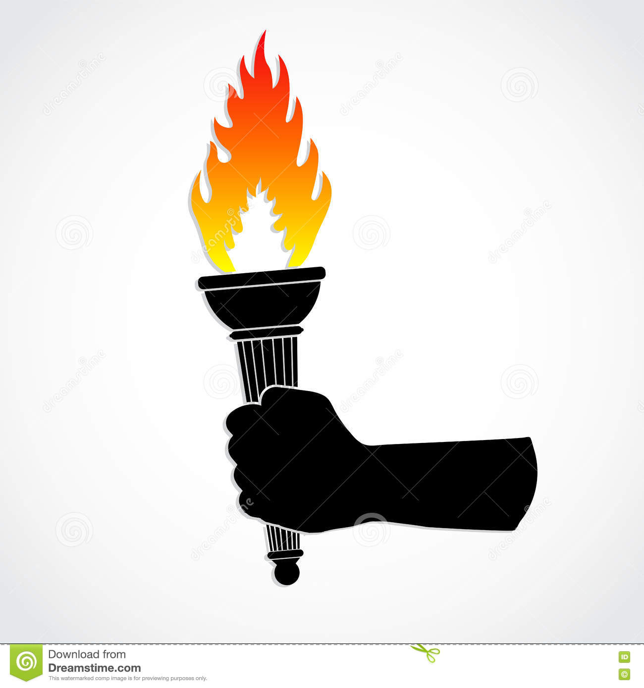 Colof Fite Torch Holding In Silhouette Hand Stock Illustration.