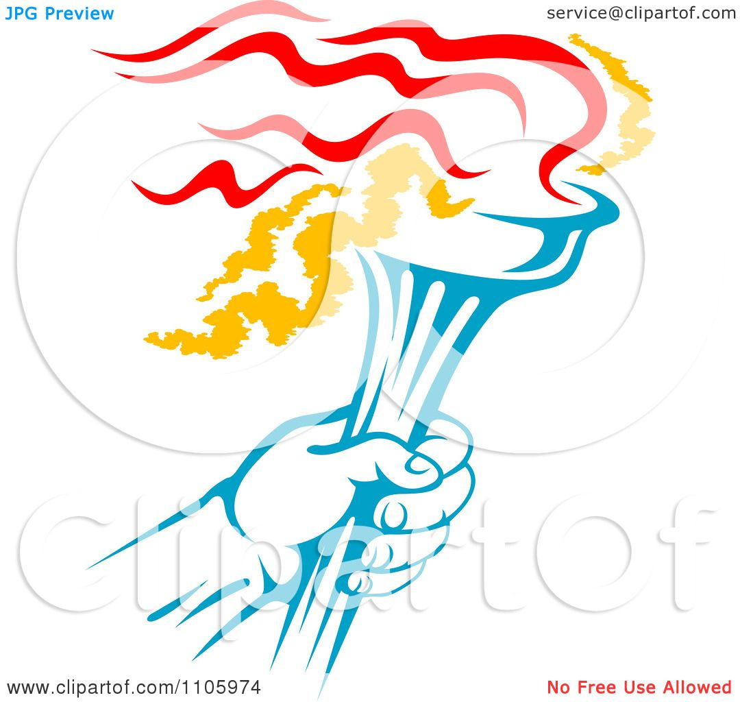 Clipart Blue Hand Holding A Flaming Olympic Torch.