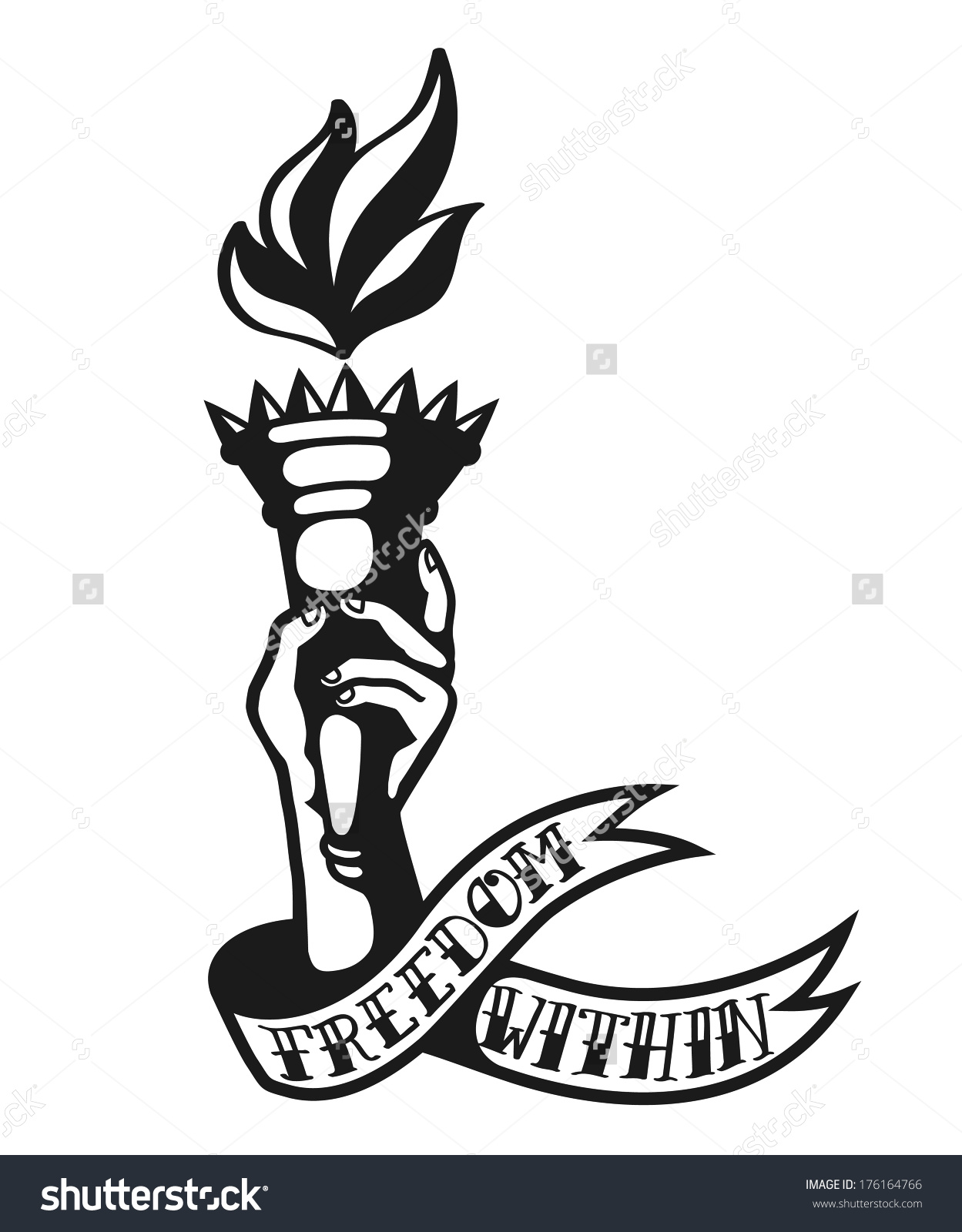 Freedom Within Cool Tattoo Design Hand Stock Illustration.