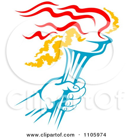 Blue Hand Holding A Flaming Olympic Torch Posters, Art Prints by.