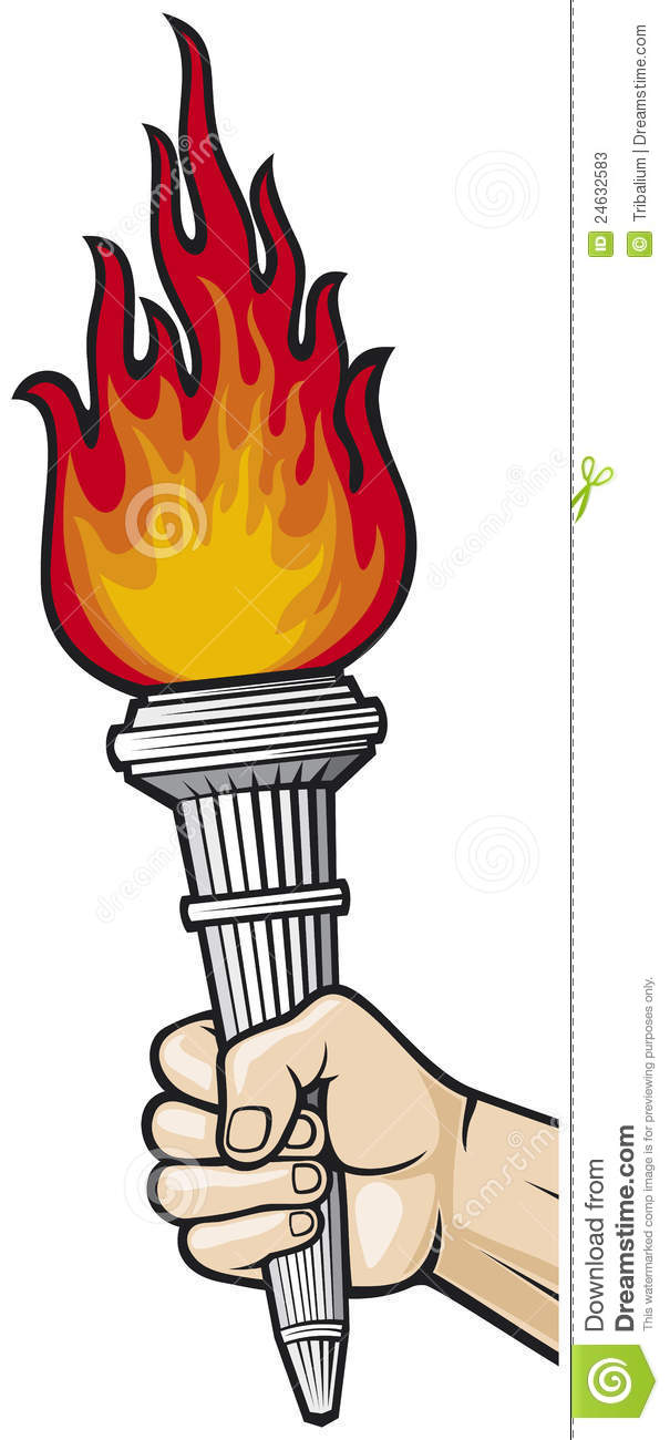 Hand With Flaming Torch Stock Photos.
