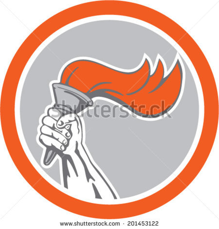 Hand Holding A Burning Torch Stock Images Royalty