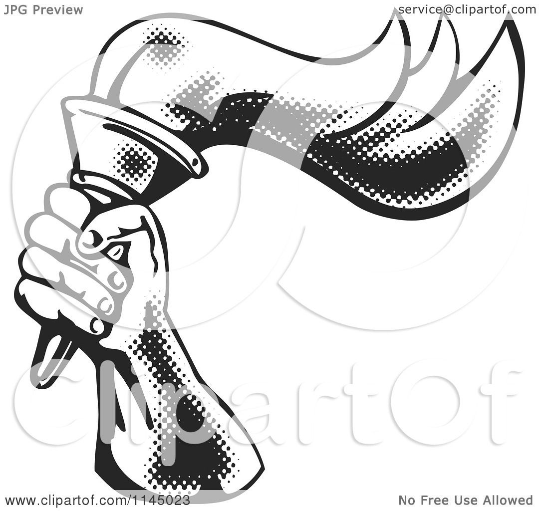 Clipart of a Retro Black and White Halftone Hand Holding a Flaming.
