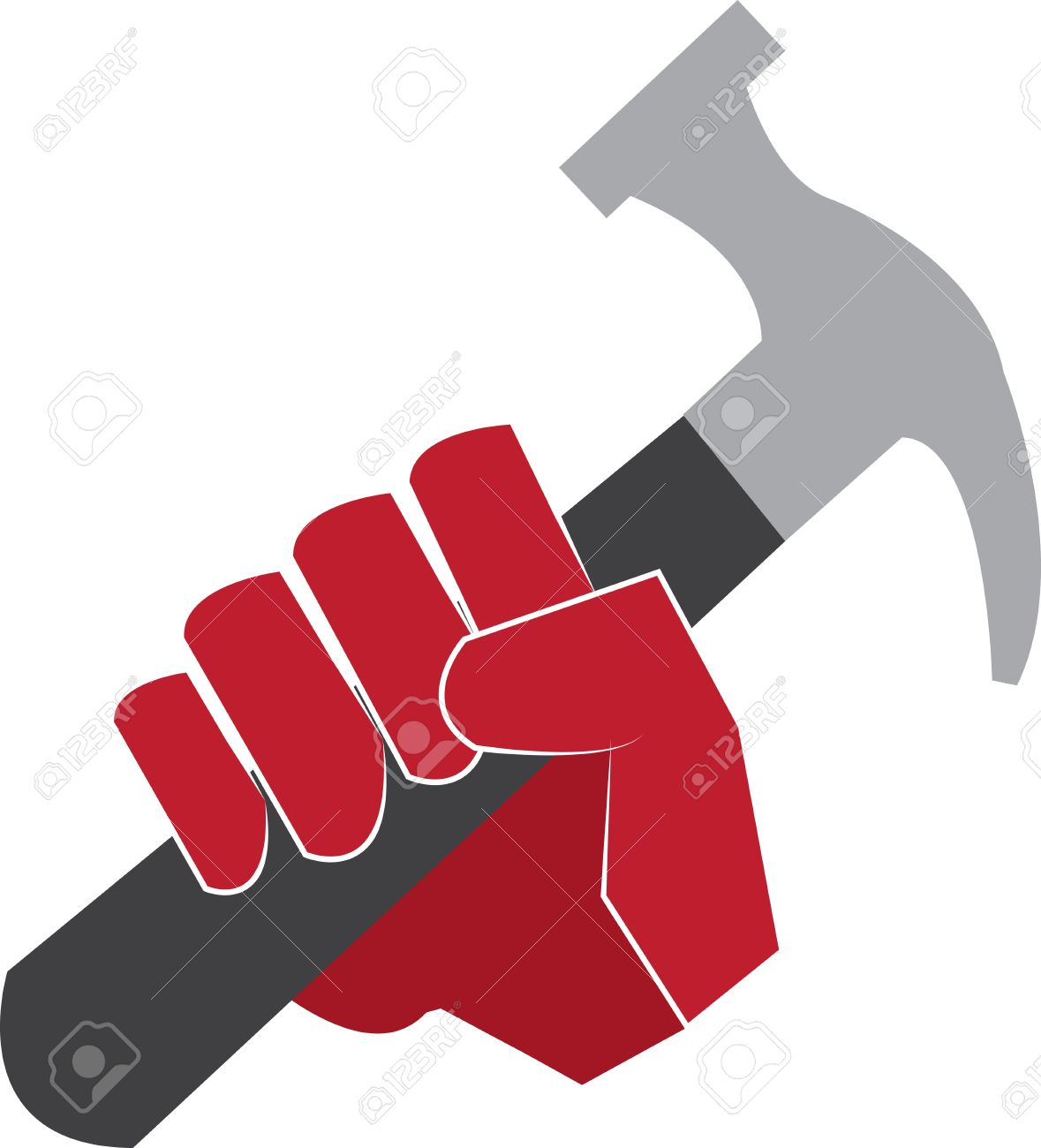 Hand holding hammer clipart.