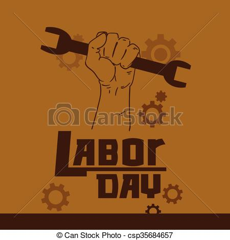Clipart Vector of Hand Hold Spanner Wrench International Labor Day.