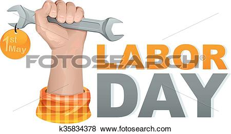 Clip Art of 1 may labor day. Hand fist k35834378.