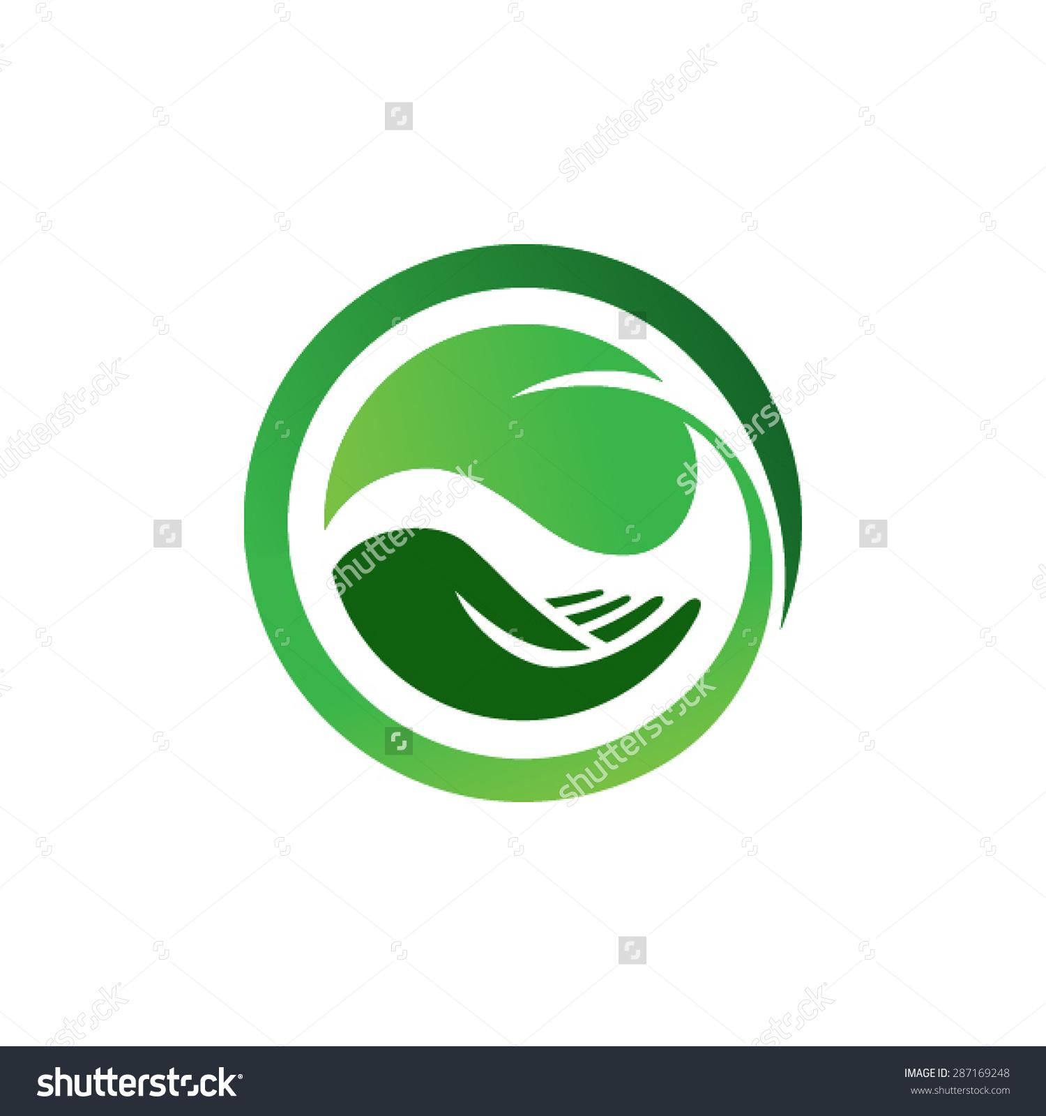 Leaf Hand Logo Organic Life Symbol Stock Vector 287169248.