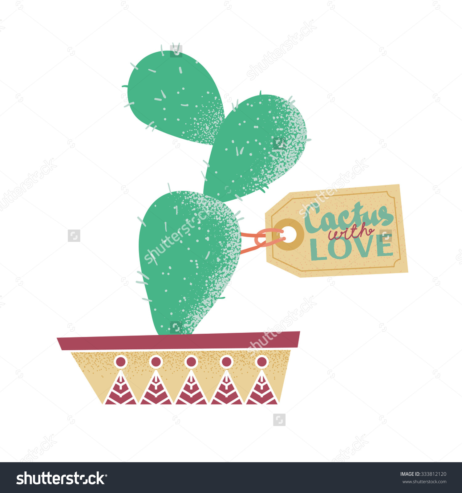 Cactus Pot Flowering Prickly Pear Tag Stock Vector 333812120.