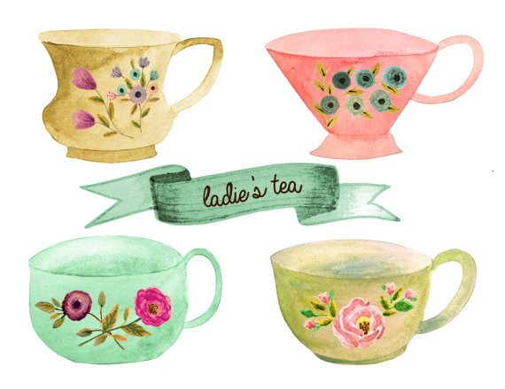 Tea clipart, tea party clipart, tea cup clipart, tea pot clipart.