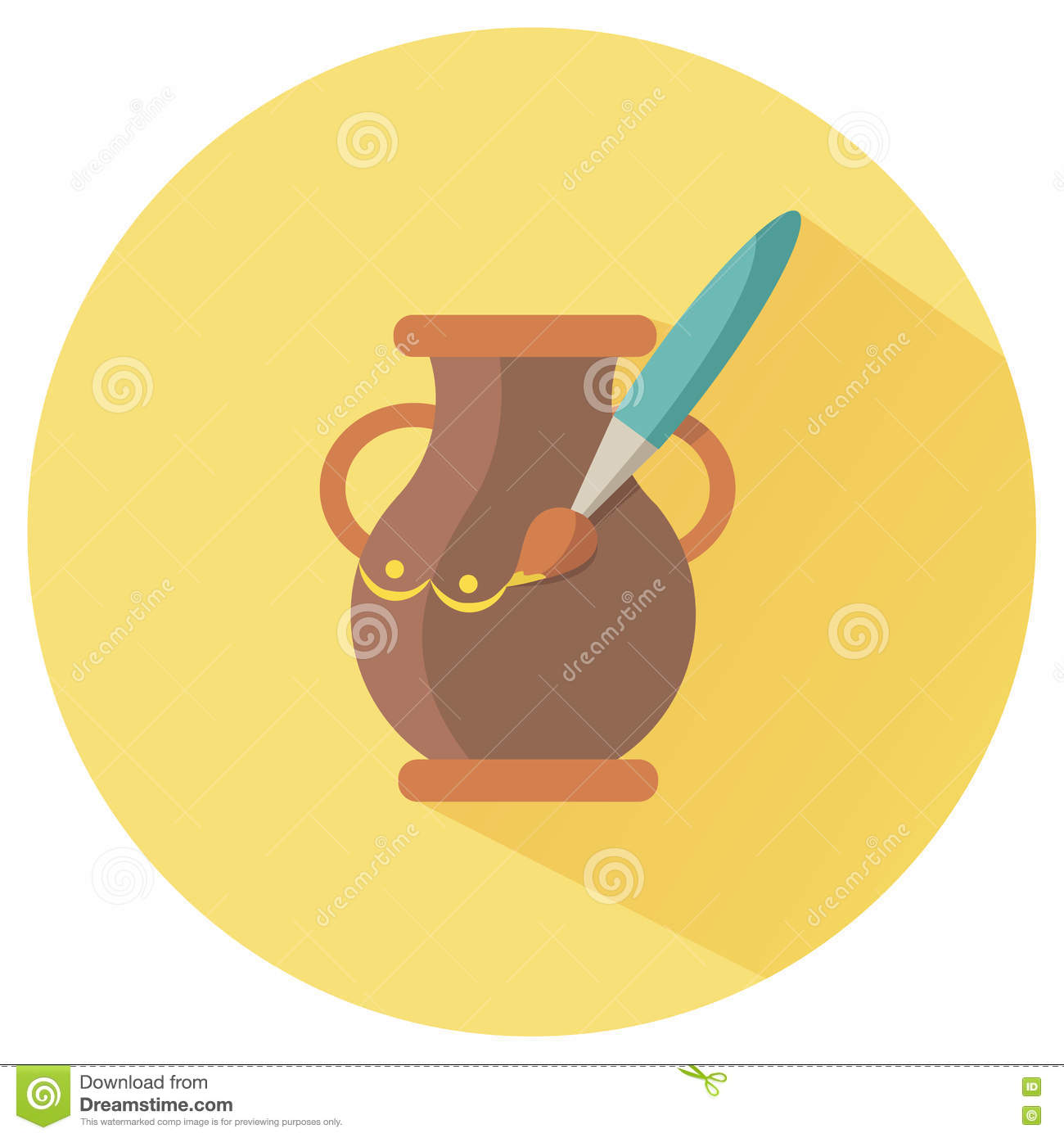 Icon For Hand Made Pot Stock Illustration.