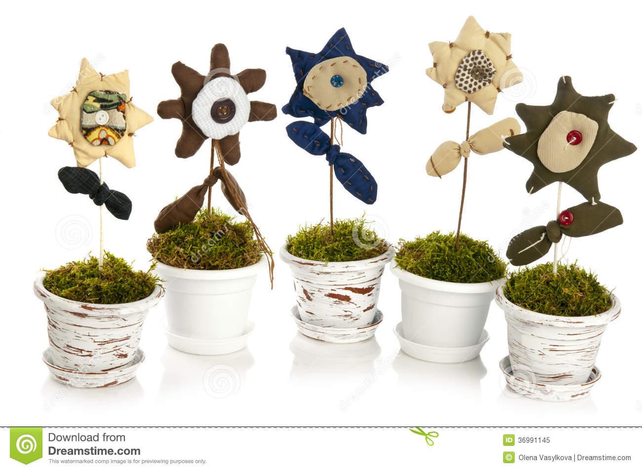 Handmade Flower In Pot Royalty Free Stock Photo.