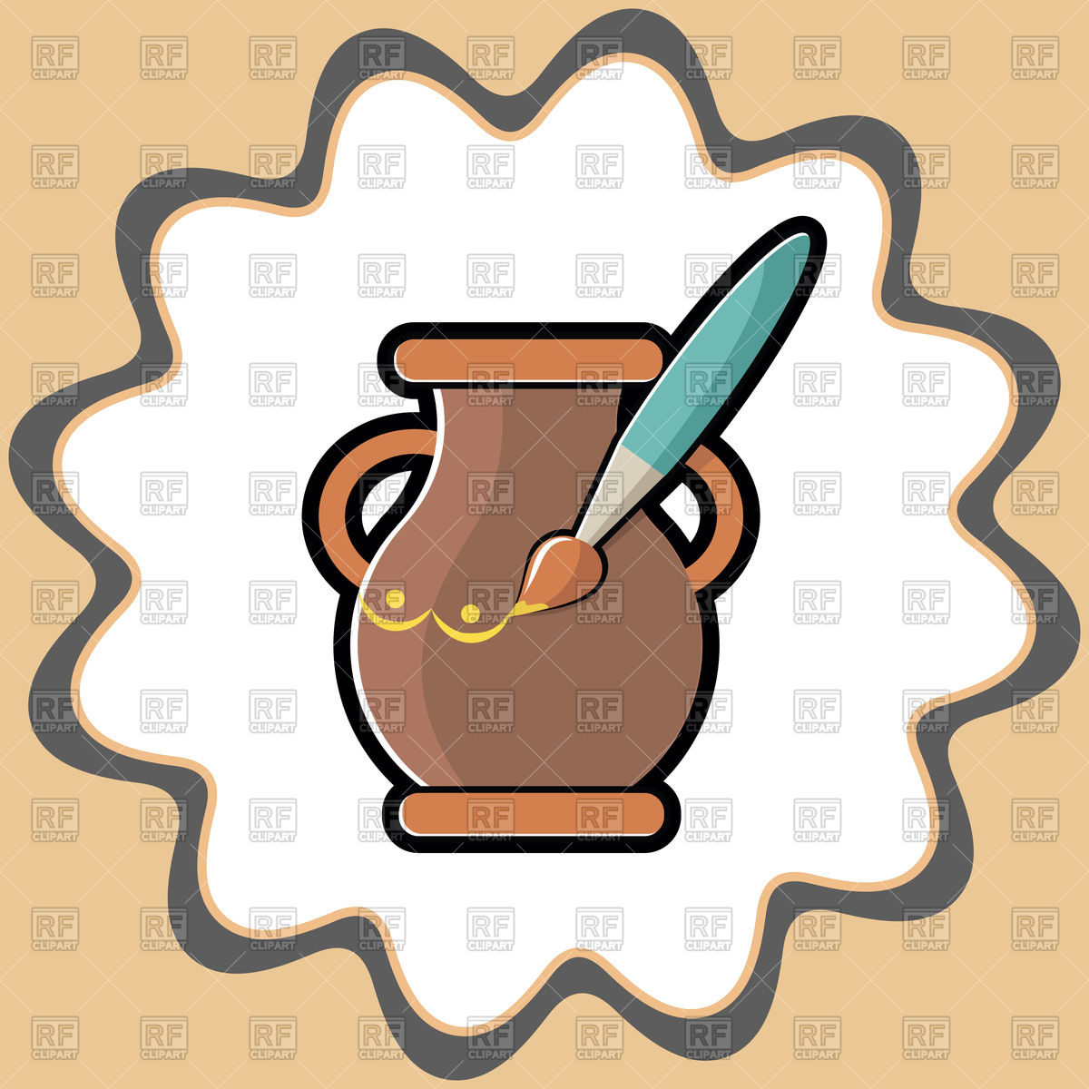 Icon for Hand Made clay and painting pot Vector Image #126582.
