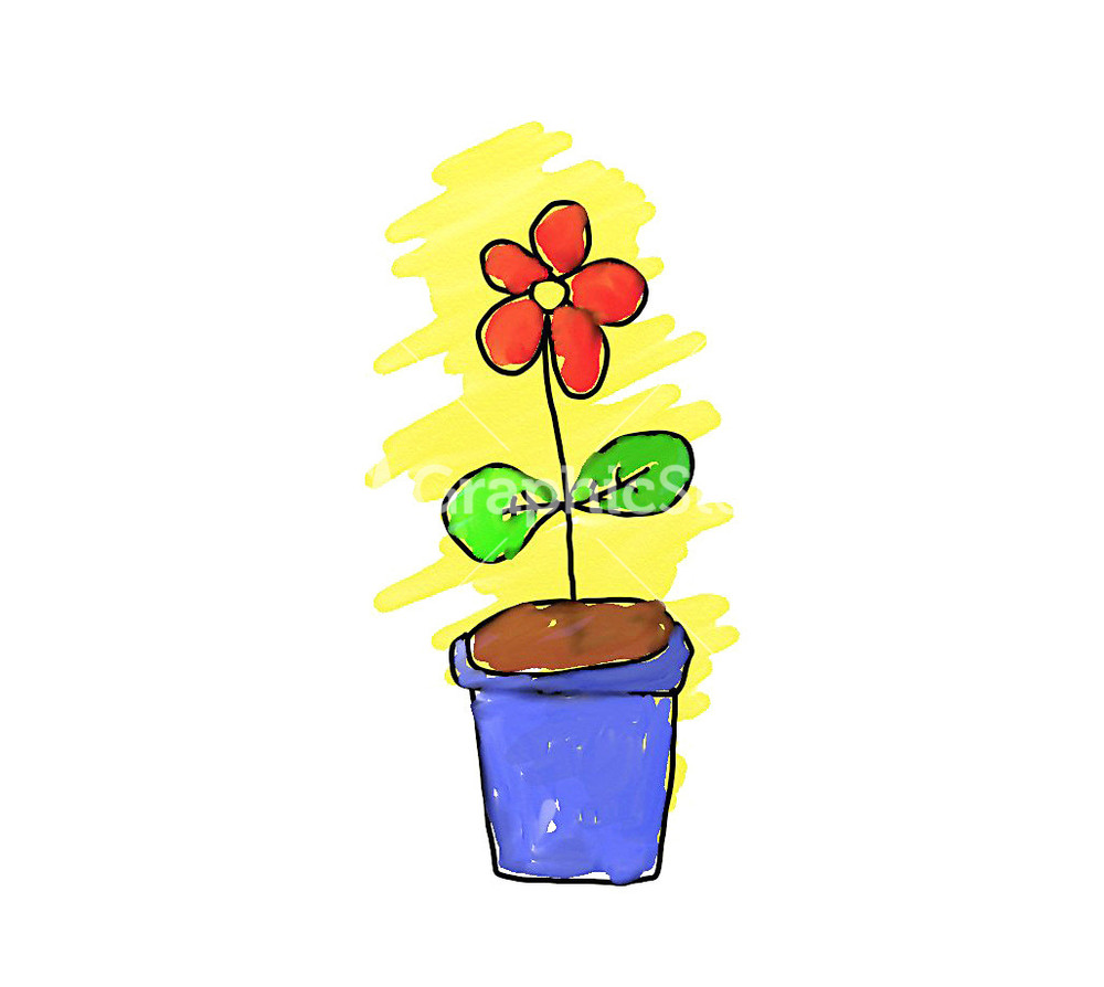 Simple Handmade Drawing Of A Flower Pot Stock Image.