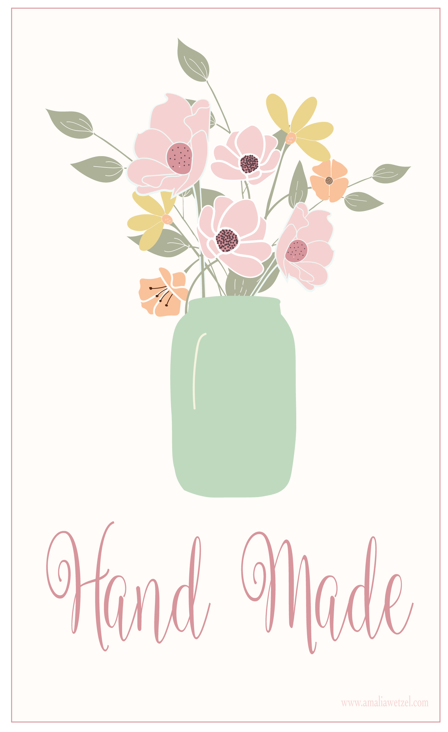 """Printable Gift Tags HAND MADE """" Flowers and Pot """"."""
