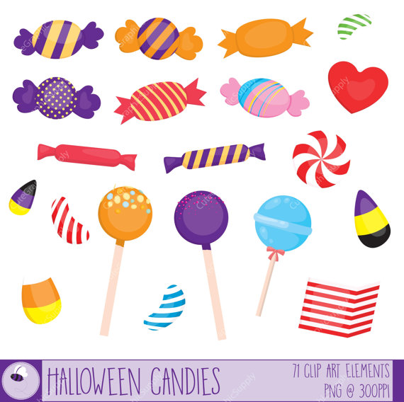 Halloween candy clipart set. 71 illustrations, PNG/vector, 6x6.