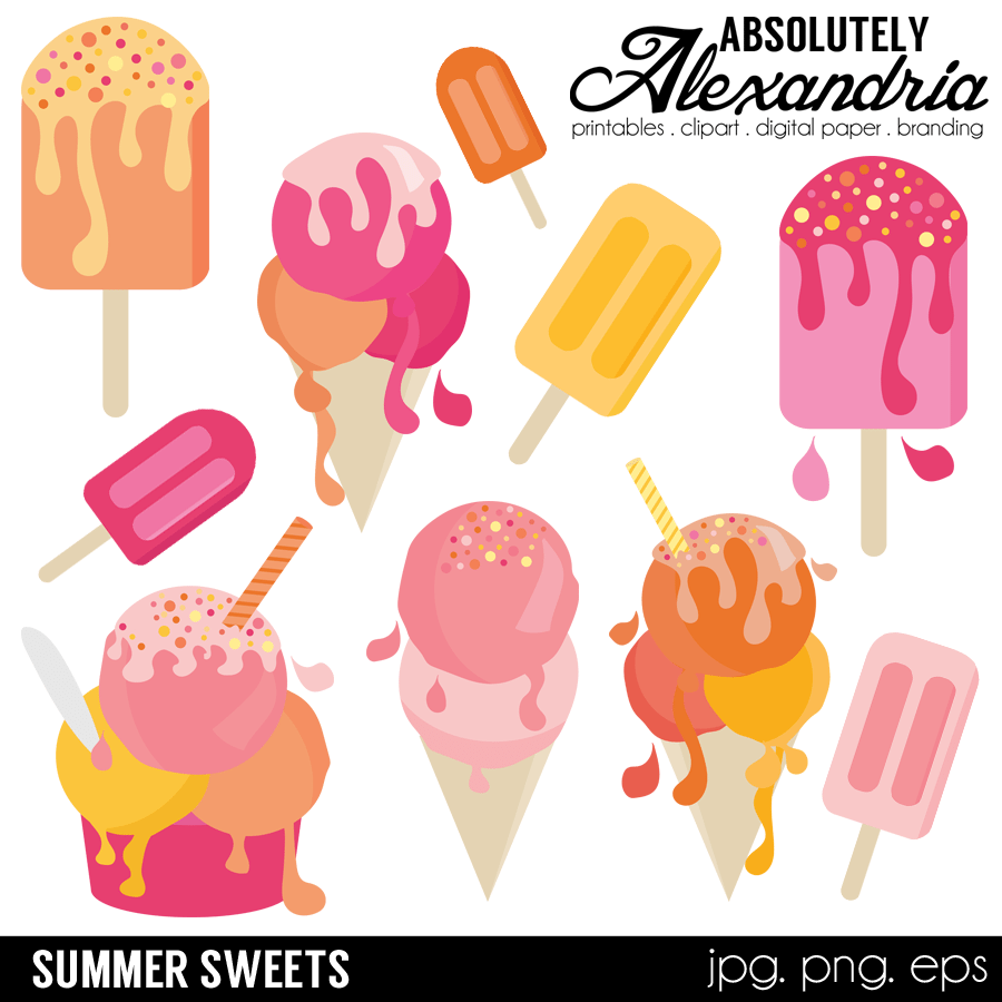 Summer Sweets Clipart Package WHAT'S INCLUDED: *All of the designs.
