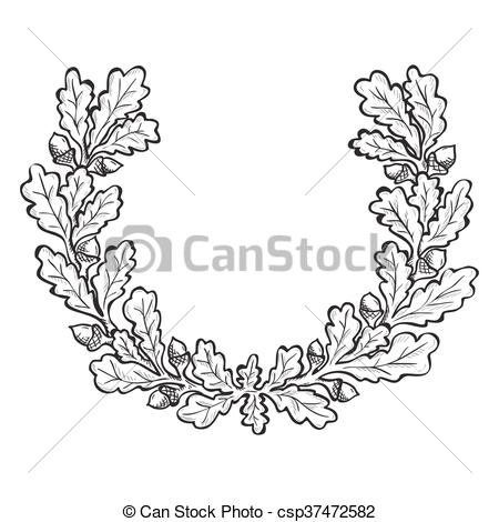 Vector of Artistic hand drawn illustration of oak wreath, ink.