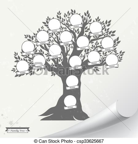 Clip Art Vector of Hand drawn oak tree. Family tree. Vintage style.