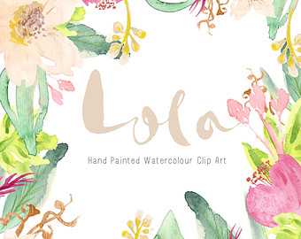 Watercolour Vintage Floral Art Collection Hand by CreateTheCut.