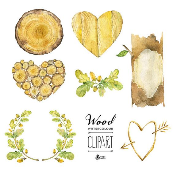 Wood Watercolour Clipart: 7 digital files. Hand painted.