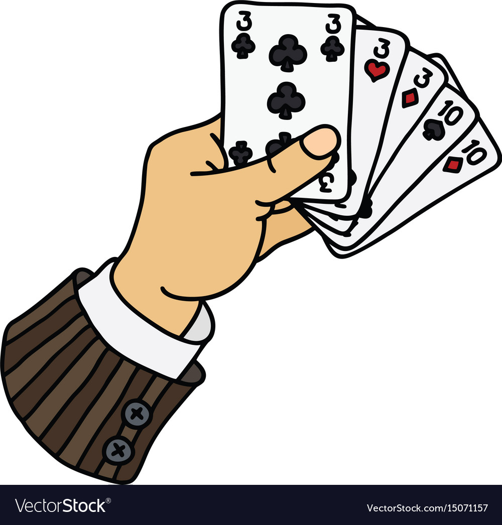 Poker cards in funny hand.
