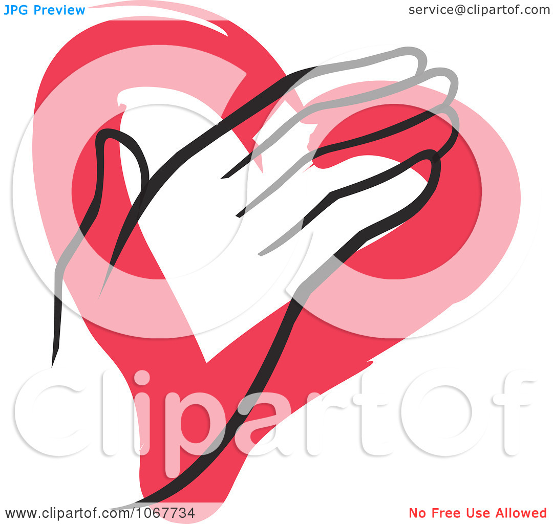 Clipart Hand Over A Painted Heart.