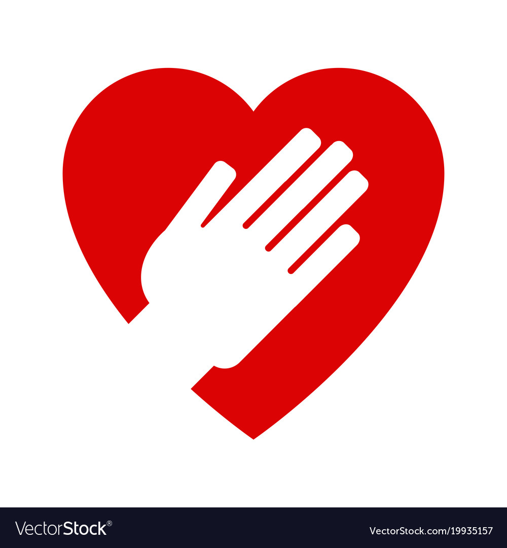Hand on heart icon.