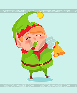 Cartoon Elf Close Mouth by Hand in Mittens.