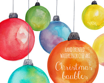 Christmas Clipart, Watercolor Christmas Tree, DIY clipart, Hand.