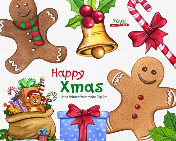 Christmas Clipart, Xmas Watercolor Diy Hand Painted Clipart.