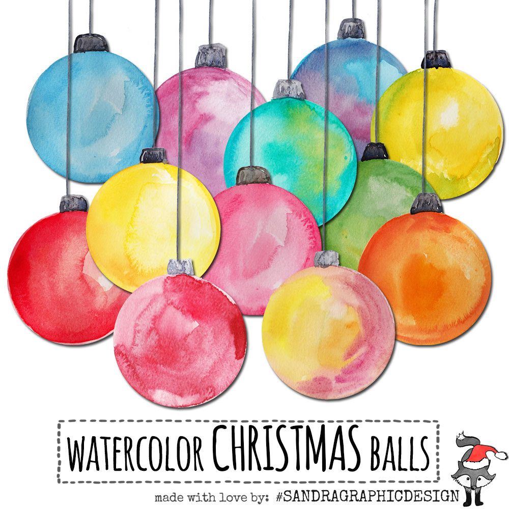 "Christmas clip art: ""CHRISTMAS ORNAMENTS"" hand painted Christmas."