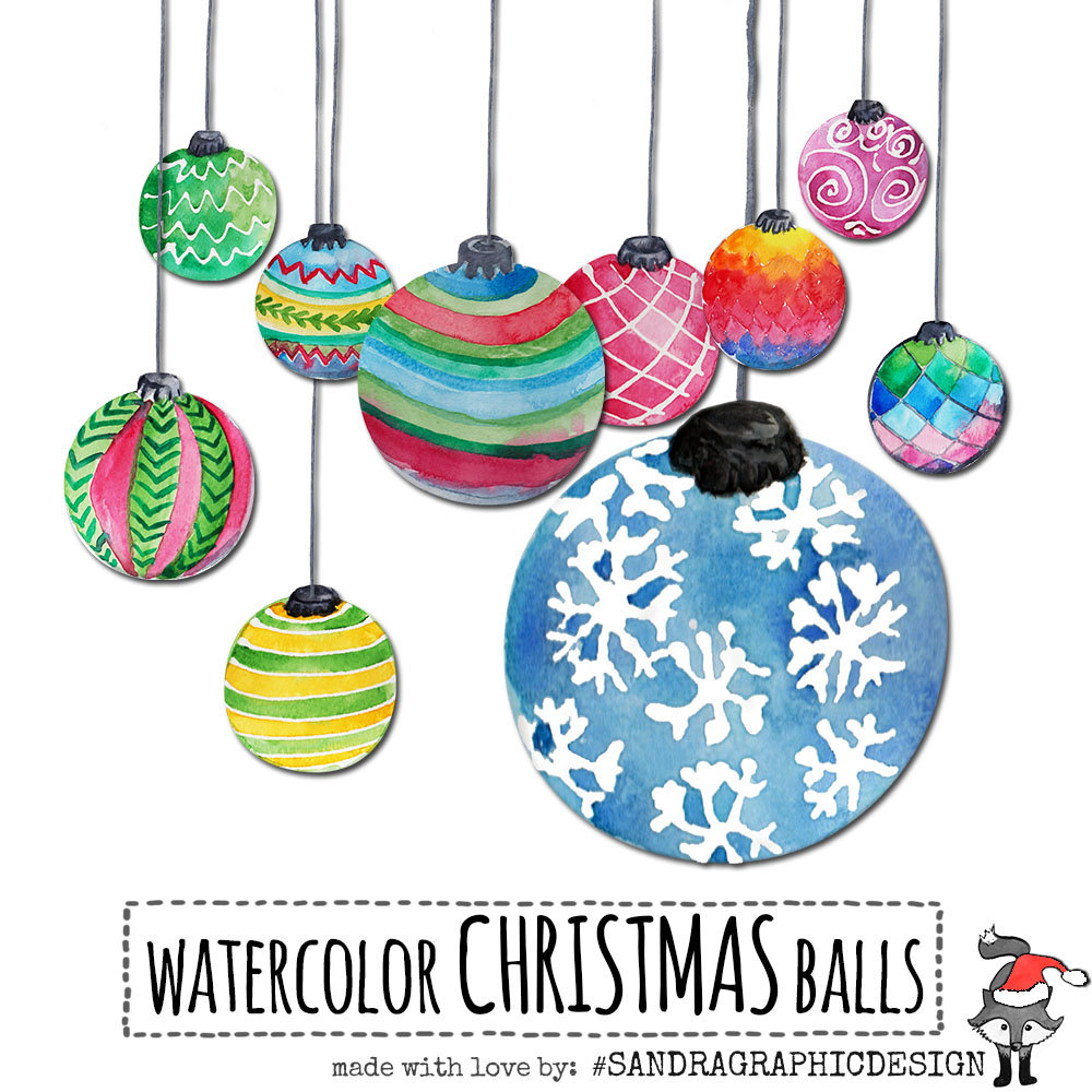 "Christmas clip art: ""CHRISTMAS ORNAMENTS"" hand painted watercolor."