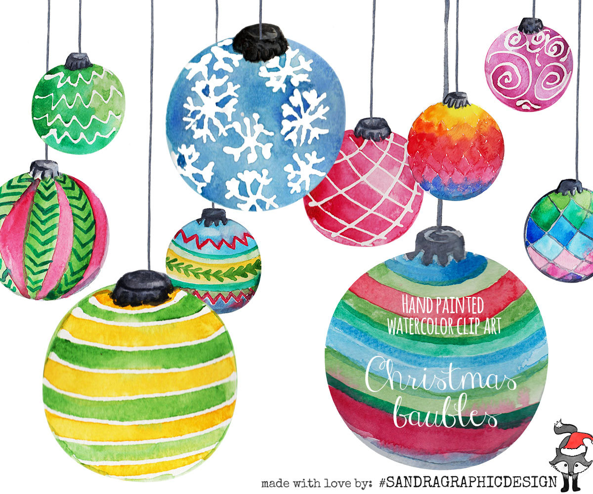 Christmas clip art: CHRISTMAS ORNAMENTS hand.