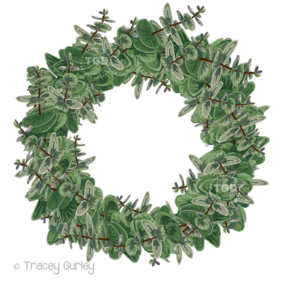 Eucalyptus Wreath Clip Art Christmas Wreath Graphic Green.
