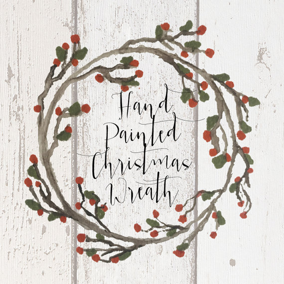 Items similar to Hand painted rustic Christmas wreath clipart.