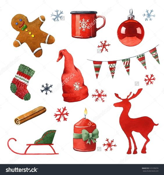 Watercolor Hand Painted Christmas Clipart. Стоковые фотографии.