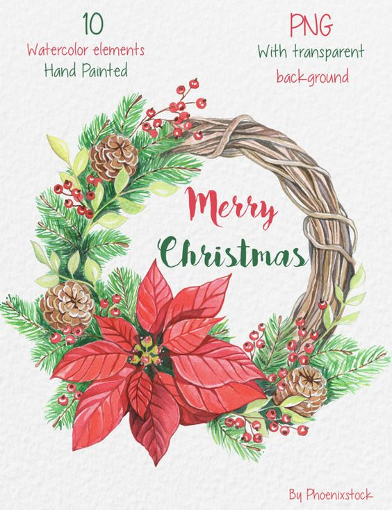 Watercolor Christmas Clipart/ Christmas wreath clip art.